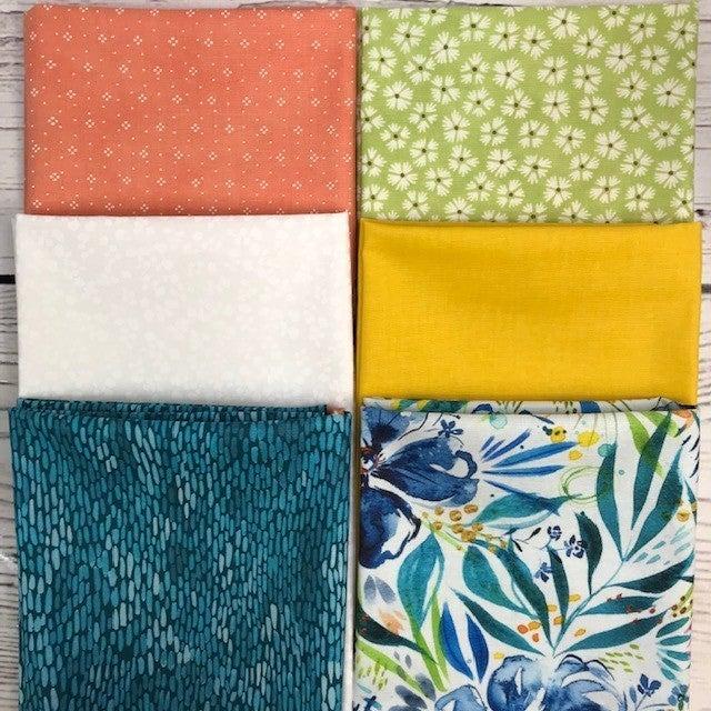 FQ Bundle (6) Blue Floral Garden