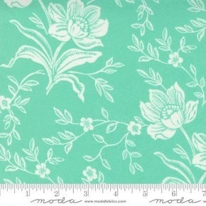 Moda  Woodcut Floral Aqua (72 x 108)