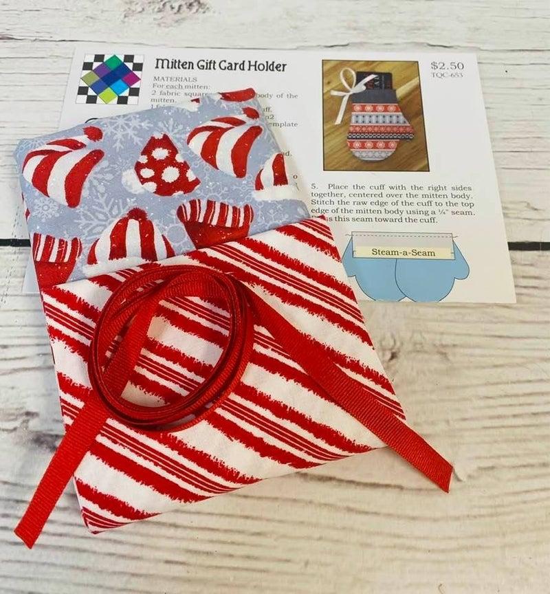 KM:  Mitten Gift Card Holder  Santa Hats (Makes 4) (Inc. fabric, stabilizer & ribbon)