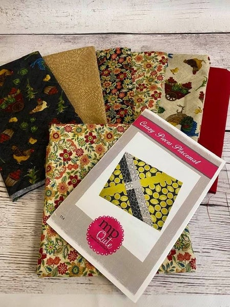 Kit:  Crazy Pieces Placemat Kit (Makes 6)  Pattern & Fabric included for top and bottom