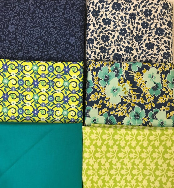 Six Half Yard Cuts - Blue and Lime Florals