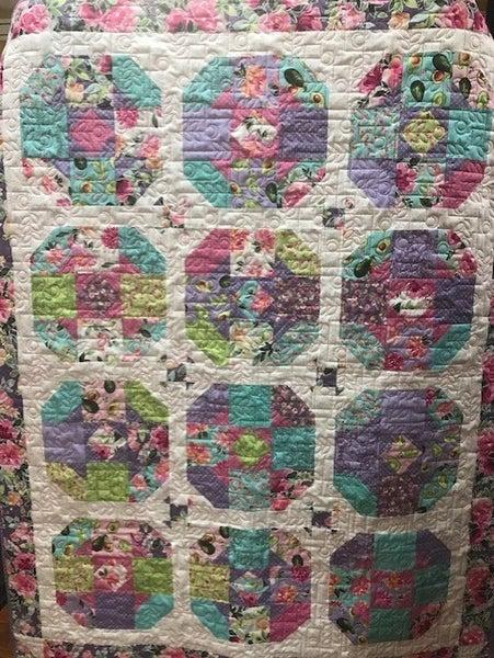 "Kit:  Tea Rose (57"" x 72"") includes pattern, fabric"