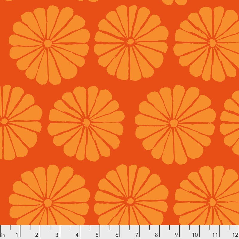 Kaffe -  Damask Flower - Orange - One Yard Cut