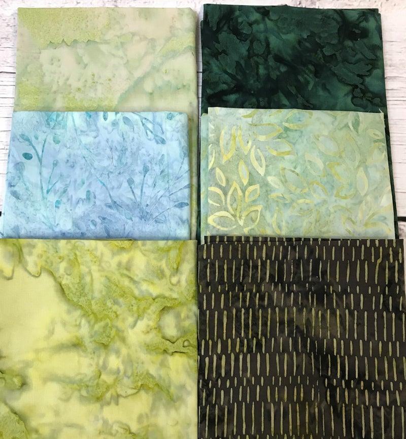 Fat Quarter Bundle (6) Batik Marbled Greens