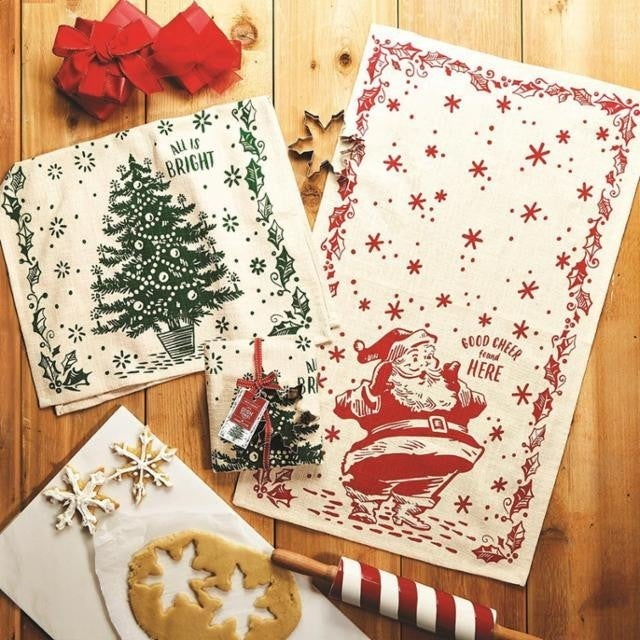 Set of Two Moda Christmas Cookie Cutter Towels