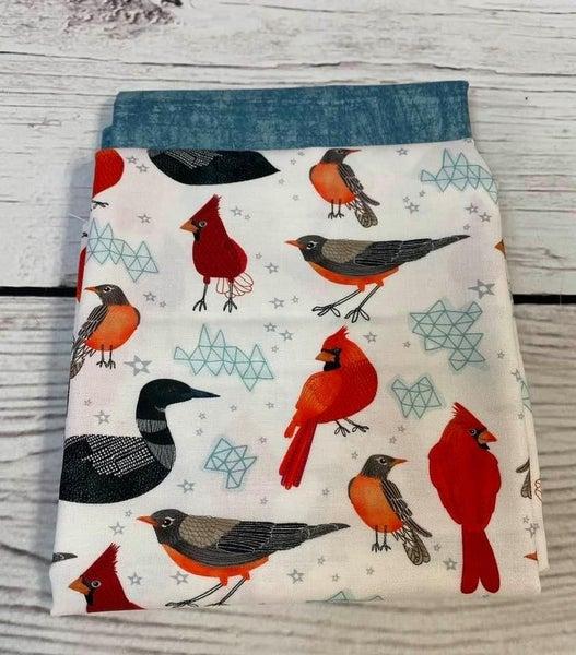 Cosmetic Bag Fabric Kit - Birds on White (Includes Batting/Zipper Kit)