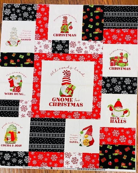 "Gnome Christmas Flannel Panel One Yard  36"" x 42"""