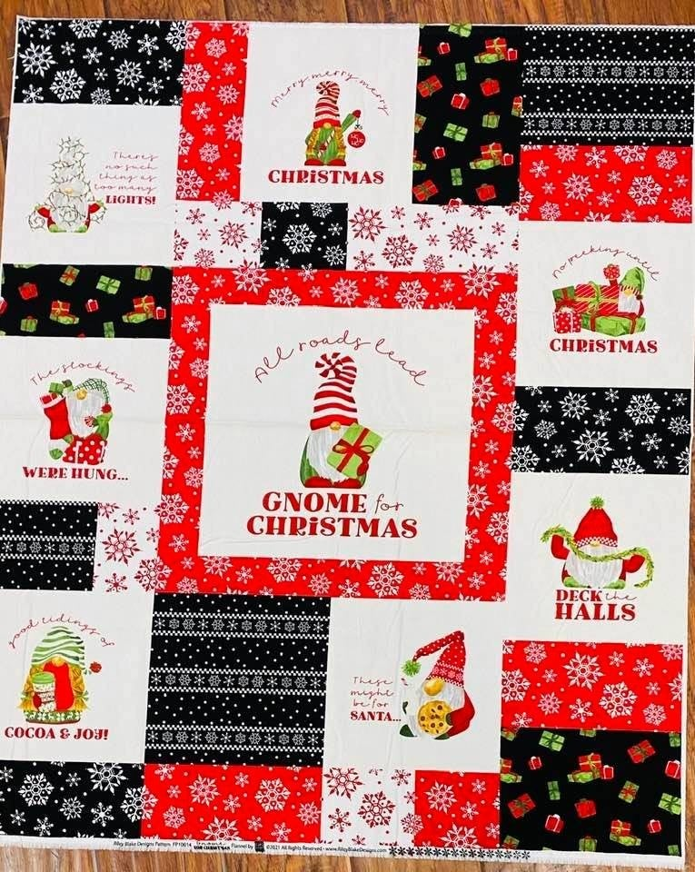 """Gnome Christmas Flannel Panel One Yard  36"""" x 42"""""""