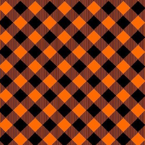 Henry Glass  Pretty Plaids Orange - 1 yard
