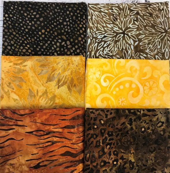 Six Half Yard Cuts - Batik Golden Brown