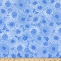 "Wideback 108"" Sunflower Whispers One Yard Cornflower"