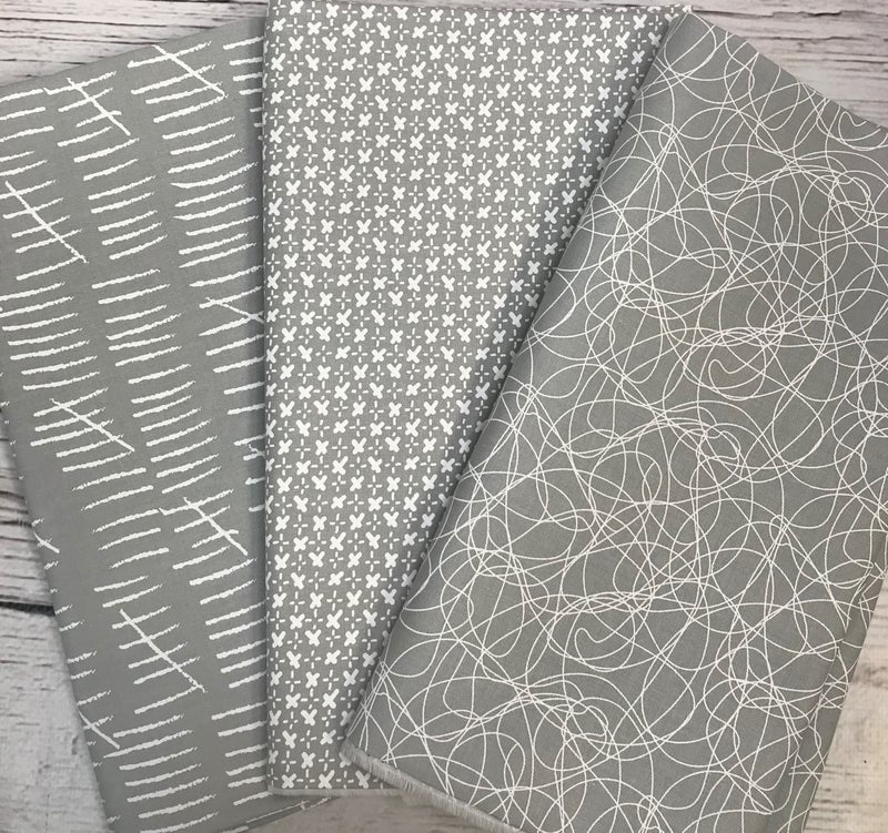 One Yard Cuts (3) - Moda Whispers Line - Zen Grey Tangles