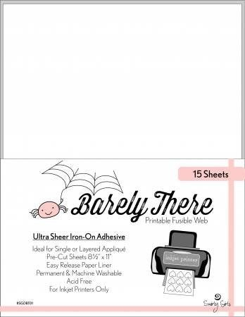 Barely There Printable Fusible Adhesive (15 sheets)