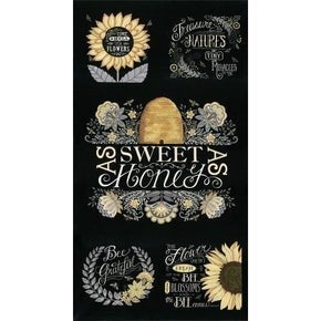 Bee Grateful Panel 2/3 Yd Black