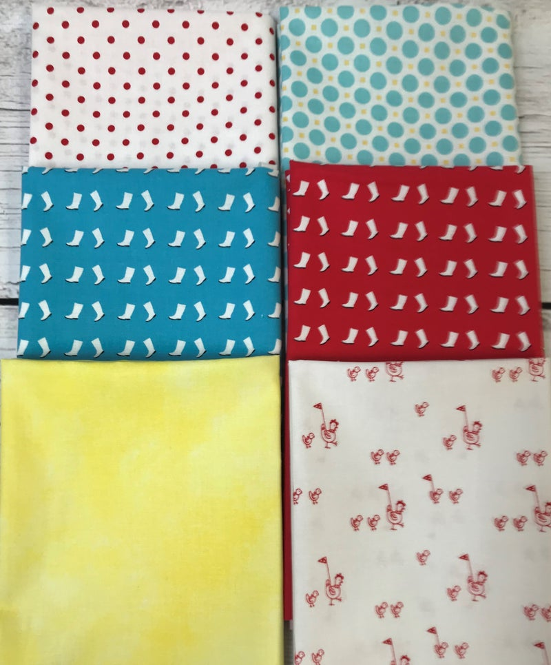 Fat Quarter Bundle (6) Red and Blue Boots