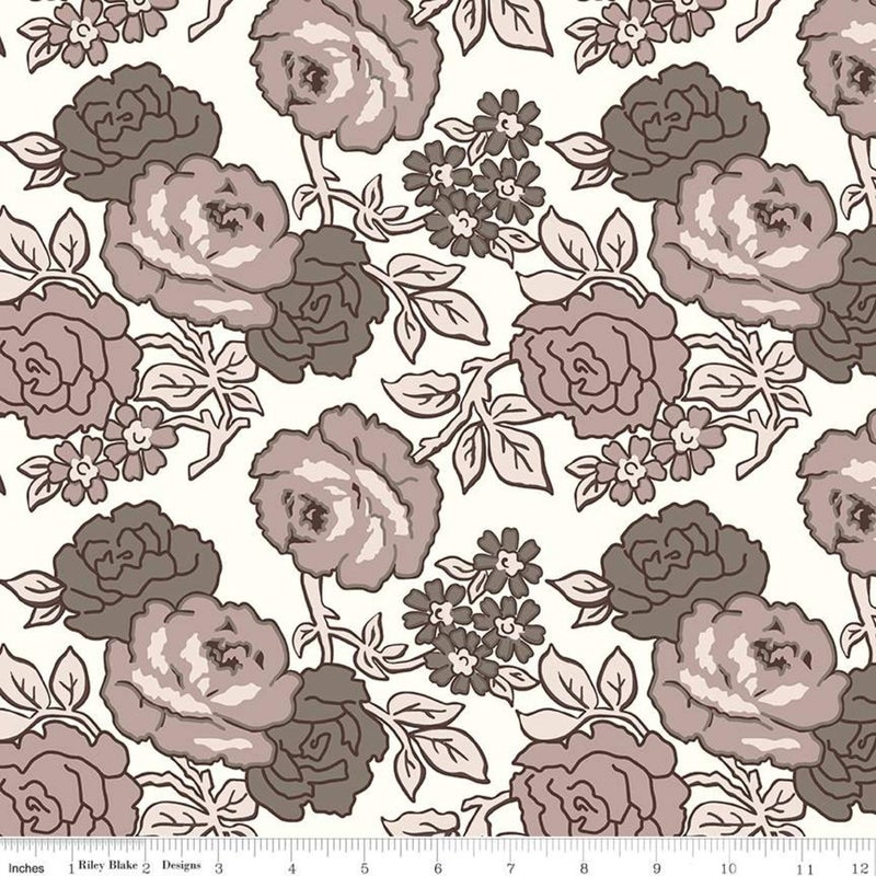 RIley Blake Flea Market Wideback Neutral Roses - One Yard