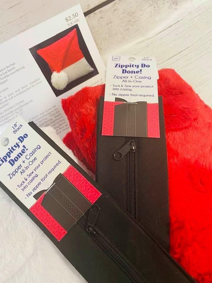 Kit:  KM Santa Hat Cuddle Kit MAKES 2 (Inc. cuddle, zippers, pattern)