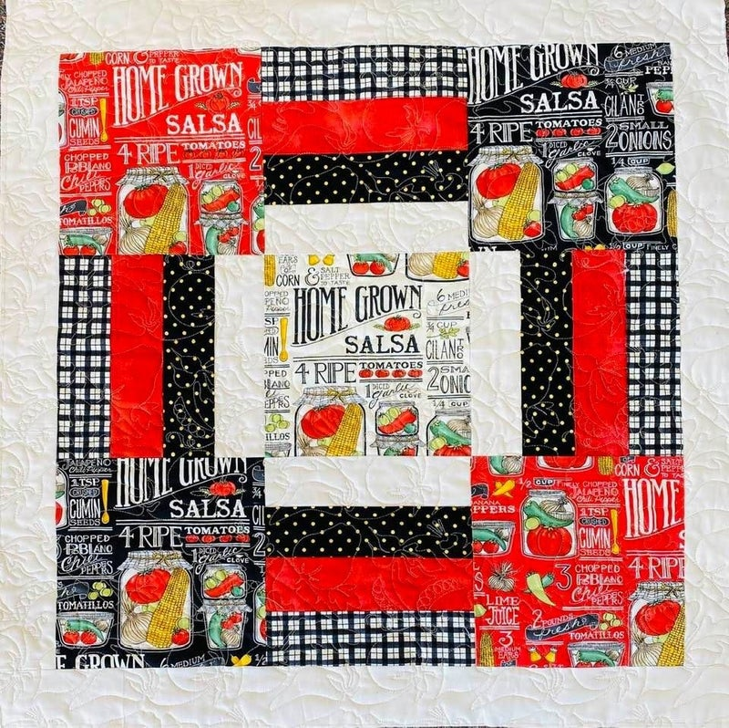 """Kit:  Stripping On A Table Salsa 29"""" x 29""""  Incl. Ptrn., top, binding & backing"""