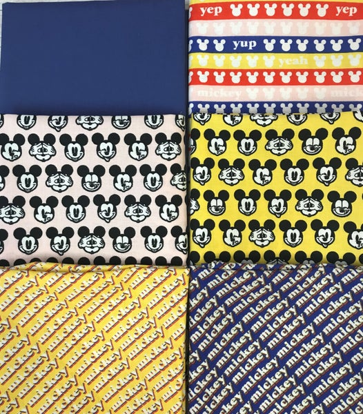 Fat Quarter Bundle (6) Hey Mickey