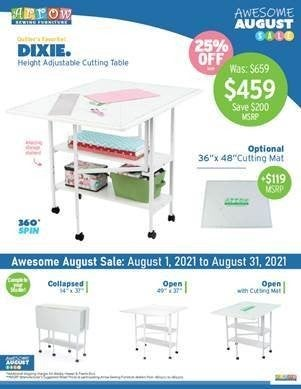 Pre-Order Dixie Cutting Table (Ship first week in August)