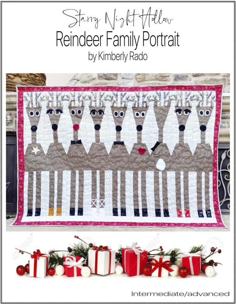 "Pattern: Reindeer Family Portrait 80"" x 60"""