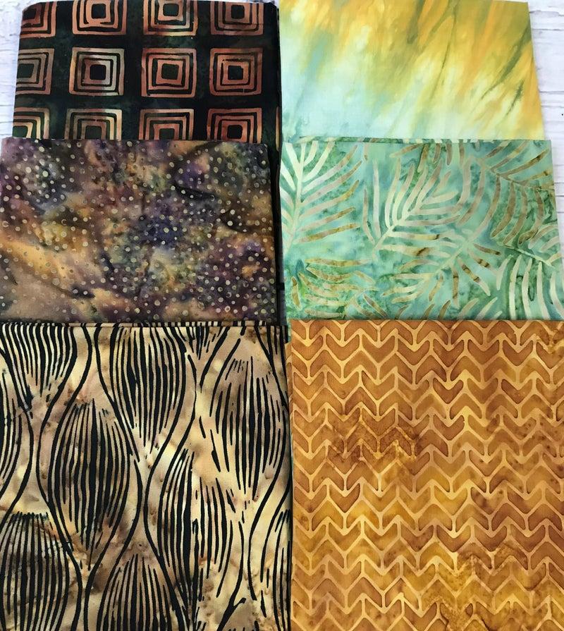 Fat Quarter Bundle (6) Batik Rust and Green