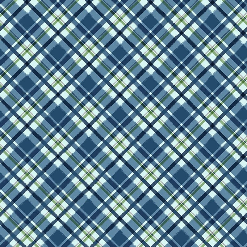 QMN 2021 Diagonal Plaid Navy Blue 1/2 Yard Increment