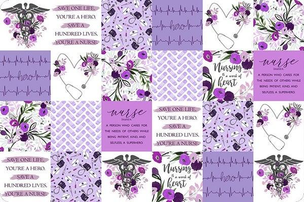 Two-Yard Cut Cuddle Nurses Purple