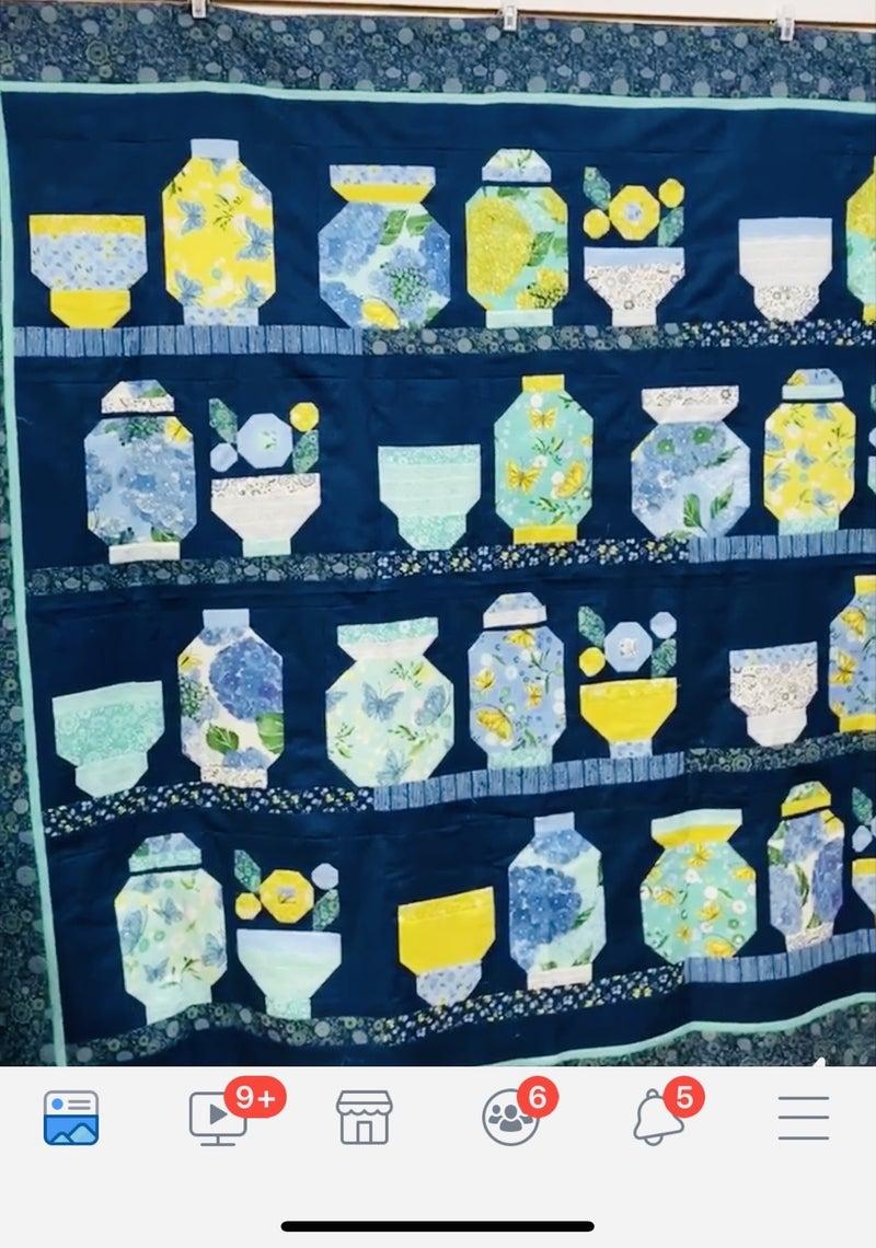 "Kit:  The Collector (Moda Cottage Bleu)  65"" x 67"""