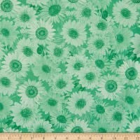 "Wideback 108"" Sunflower Whispers One Yard Green"