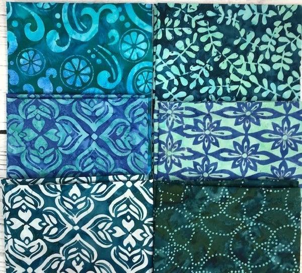 FQ Bundle (6) Zesty Blue Batiks