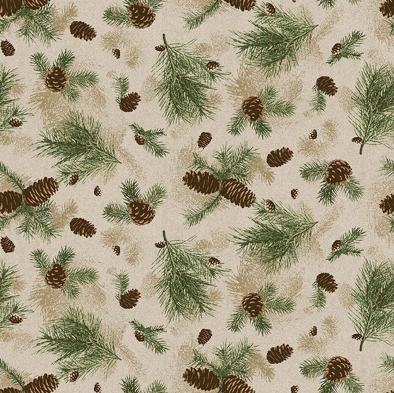 QMN 2021 Pine Branches Caramel 1/2 Yard Increment