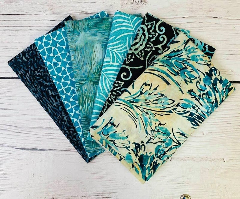 Batik Bundle Six Half-Yard Cuts Aqua Tulips