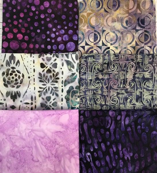 Six Half Yard Cuts - Batiks in Purple
