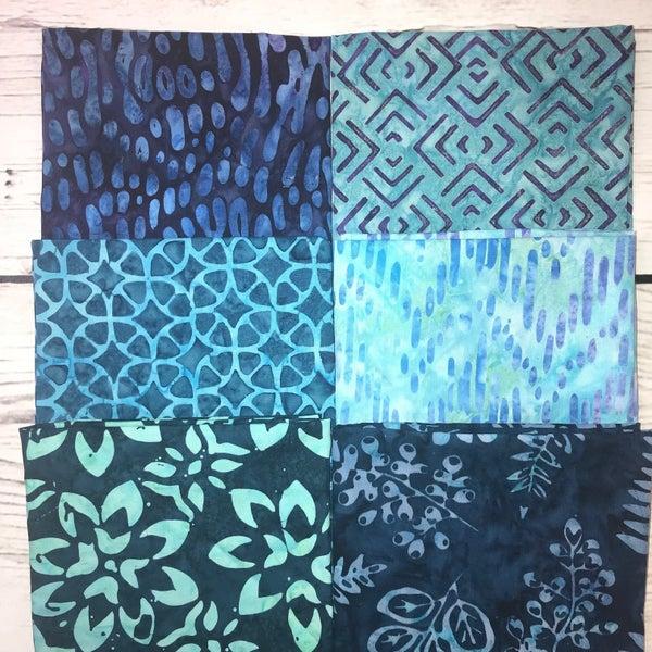 FQ Bundle (6) Blue and Purple Batik