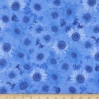"Wideback 108"" Sunflower Whispers One Yard Royal"