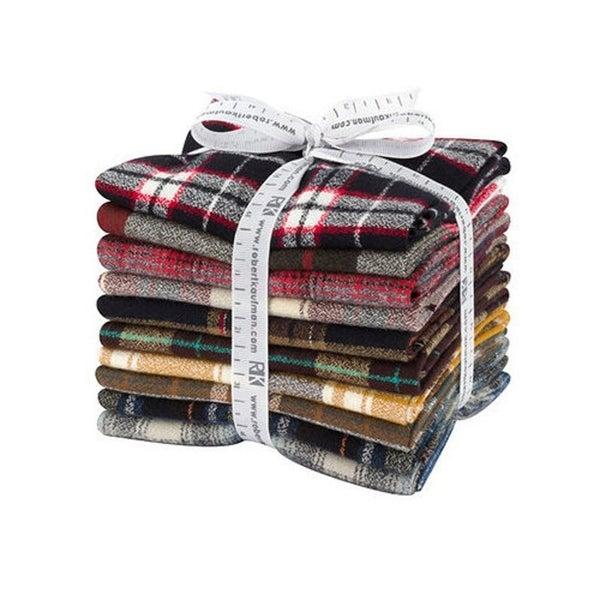 Pre-Cut:  FQ Bundle Mammoth Plaid Flannel (10) Fats