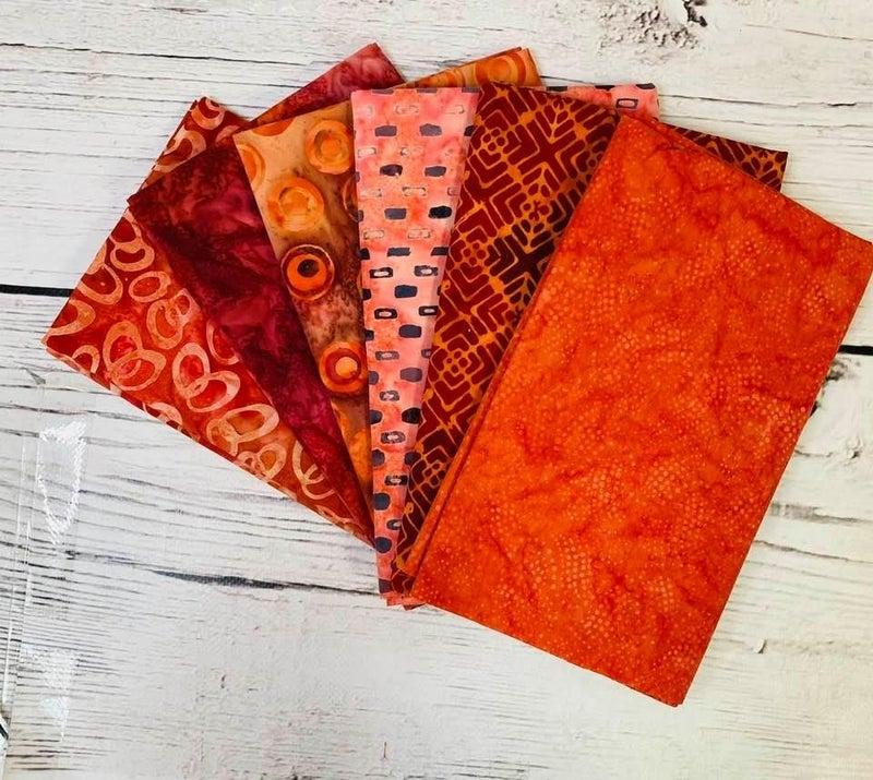 Batik Bundle Six Half-Yard Cuts Fiesta Reds