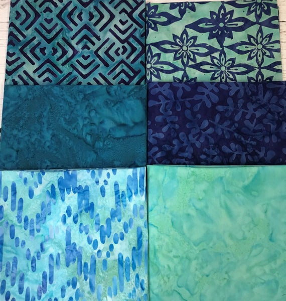 Fat Quarter Bundle (6) Batiks in Aqua