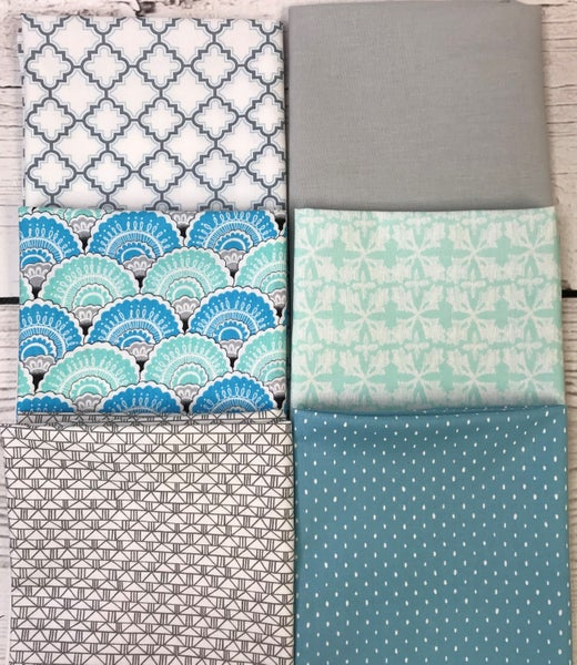 Fat Quarter Bundle (6) Blue and Aqua Fans