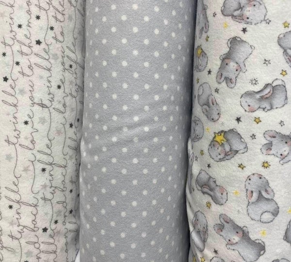 Flannel Bunny Trio (3) 1/2 Yard Cuts