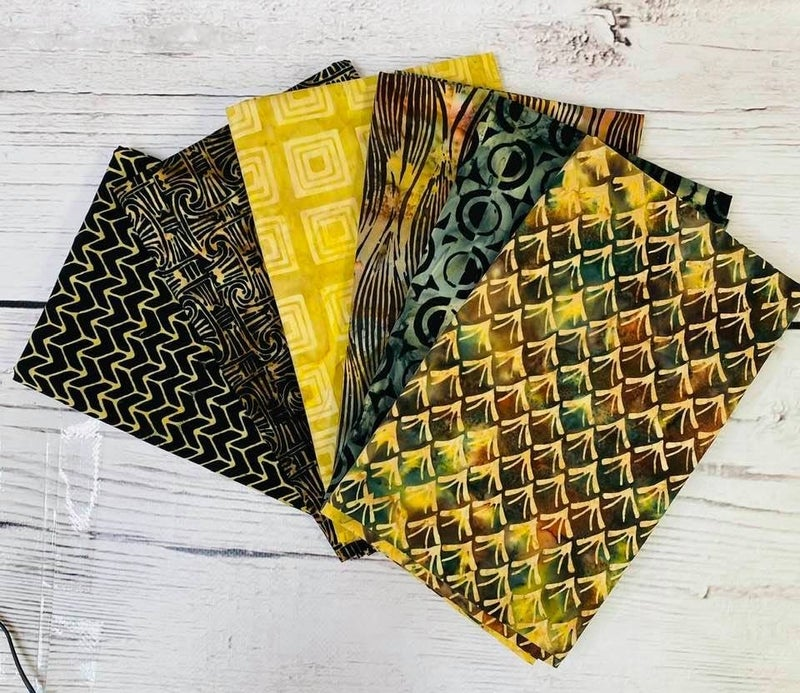 Batik Bundle Six Half-Yard Cuts Golden Gems