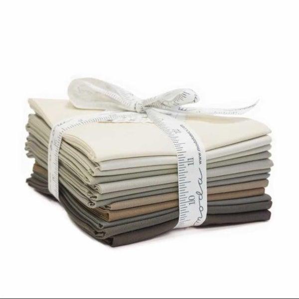 Fat Quarter Bundle (12) Bella Solids Taupes