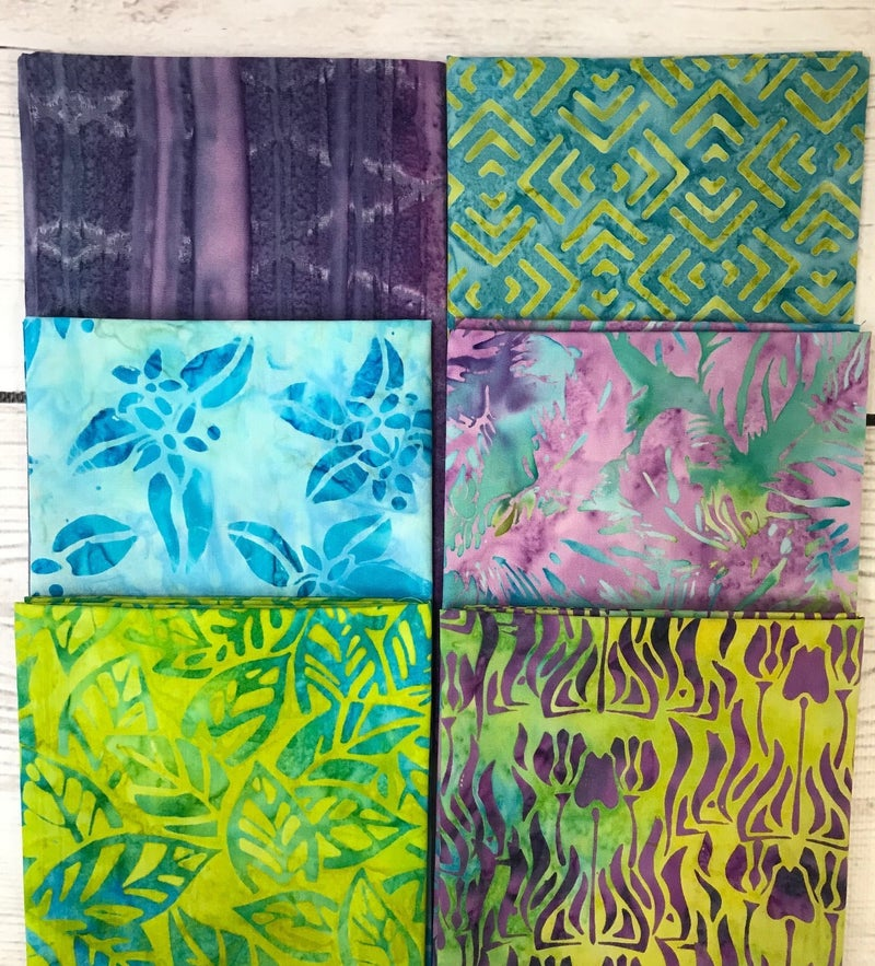 FQ Bundle (6) Aqua and Purple Batiks