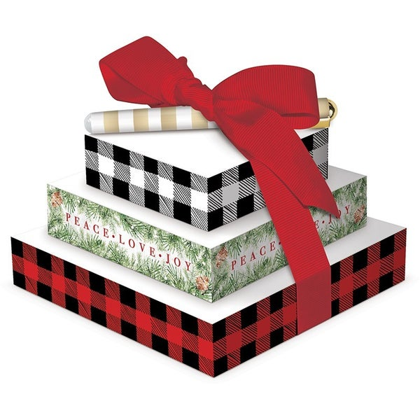"""Tower of Note w/Pen Plaid (3 Notepads w/200 sheets in each pad).  5"""" x 5"""" x 3"""""""
