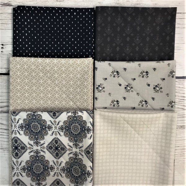 FQ Bundle (6) Navy and Taupe Prints