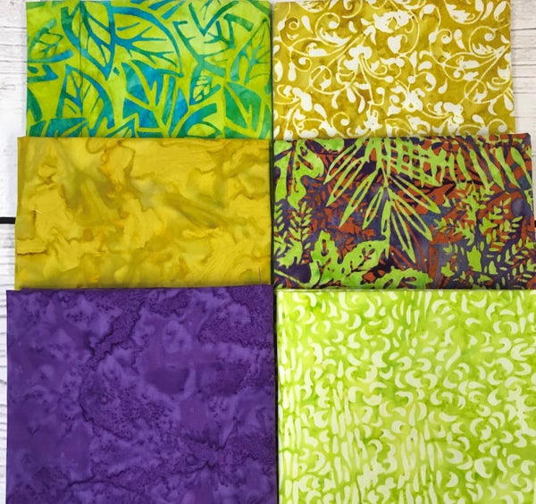 Fat Quarter Bundle (6) Batik Green and Brown Palms