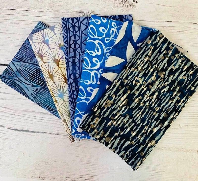 Batik Bundle Six Half-Yard Cuts Blue Heaven