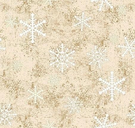 QMN 2021 Snowflakes Light Caramel 1/2 Yard Increment