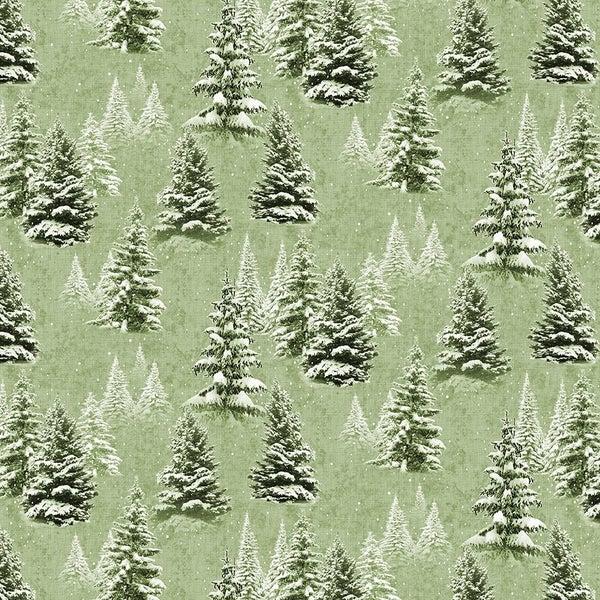 QMN 2021 Digital Snow Trees Light Olive 1/2 Yard Increment
